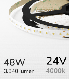 "Striscia LED 3528 ""ECO"" - 24V - 5 Metri - 48W - SMD3528 120 LED/m - Bianco NATURALE - 4000K"
