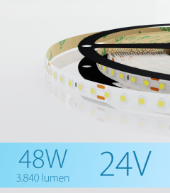 "Striscia LED 3528 ""ECO"" - 24V - 5 Metri - 48W - SMD3528 120 LED/m - Bianco FREDDO - 5000K"