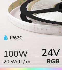 """Striscia LED RGB """"DYNAMIC RGB"""" - 5 Metri - 100W - 840 LED SMD3838 - Resistente all'acqua IP67"""
