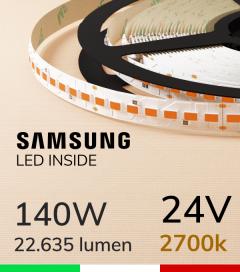 "Striscia LED 5630  ""M-POWER"" - 5 Metri - 140W -  140 LED/m SMD5630 Samsung - CRI90 - 2700K LUCE CALDA"