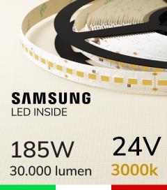 "Striscia LED 5630  ""H-POWER"" - 5 Metri - 185W -  140 LED/m SMD5630 Samsung - CRI90 - Bianco CALDO 3000K"