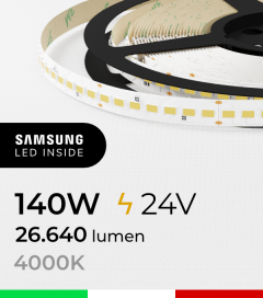 "Striscia LED 5630  ""M-POWER"" - 5 Metri - 140W -  140 LED/m SMD5630 Samsung - CRI90 - 4000K BIANCO NATURALE"