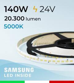 "Striscia LED 5630  ""M-POWER"" - 5 Metri - 140W -  140 LED/m SMD5630 Samsung - CRI90 - 5000K BIANCO FREDDO"