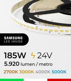 "Striscia LED 5630  ""H-POWER"" - 5 Metri - 185W -  140 LED/m SMD5630 Samsung - CRI90 - per Cornici Eleni"