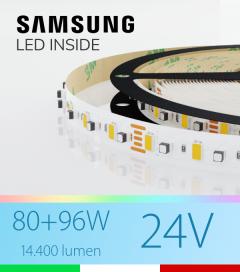 "Striscia LED RGBW  ""DYNAMIC RGBW"" - 5 Metri - 176W - 120 LED/m - SMD3535 Broadcom e SMD5630 Samsung CRI90 - RGB + Bianco Freddo 5000K"