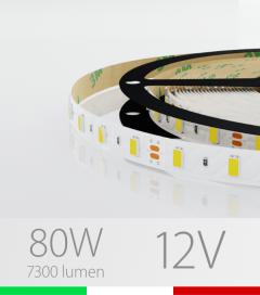"Striscia LED ""ECO"" - 5 Metri - 80W - 300 LED SMD5630 BIANCO NATURALE"