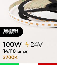 "Striscia LED ""ZENITH"" - 5 Metri - 100W -  98 LED/m SMD5630 SAMSUNG - CRI90 - Luce CALDA 2700K"