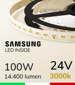 "Striscia LED ""ZENITH"" - 5 Metri - 100W -  98 LED/m SMD5630 SAMSUNG - CRI90 - Bianco CALDO 3000K"