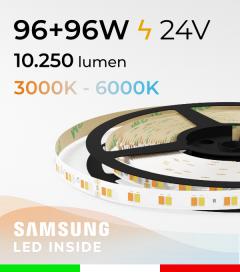 "Striscia LED Bianco Dinamico ""DYNAMIC WHITE"" - 5 Metri - 96W+96W - 120 LED/m SMD5630 Samsung - da 3000K a 6000K"