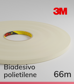Biadesivo Polietilene 3M 9508W Acrilico Colore Bianco - Rotolo da 66m