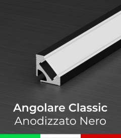 Profilo in Alluminio angolare a 45° Design Classic per Strisce LED - Anodizzato Nero