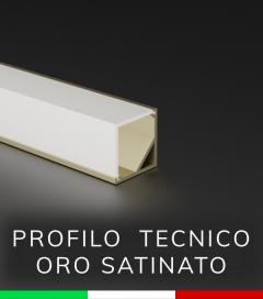 Profilo in alluminio angolare 45° Design Tecnico per Strisce LED -  Oro Satinato