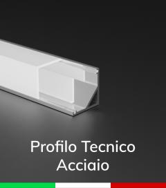 Profilo in alluminio angolare 45° Design Tecnico per Strisce LED - ACCIAIO Lucido