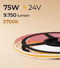 "Striscia LED COB ""Linea Continua"" - 24V - 5 Metri - 75W - 528 LED/m - Luce CALDA - 2700K"