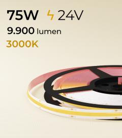 """Striscia LED COB """"Linea Continua"""" - 24V - 5 Metri - 75W - 528 LED/m - Bianco CALDO - 3000K"""