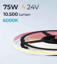 "Striscia LED COB ""Linea Continua"" - 24V - 5 Metri - 75W - 528 LED/m - Bianco FREDDO - 6000K"