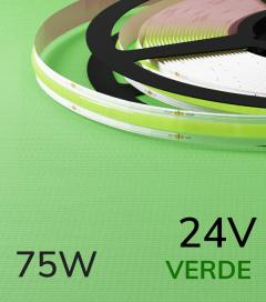 "Striscia LED COB COLOR ""Linea Continua"" - 5 Metri - 75W - VERDE 528 LED/m"