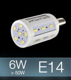 Lampadina LED CORN 6W E14 (60W) -  Bianco Freddo