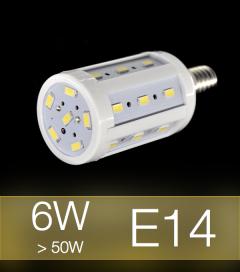 Lampadina LED CORN 6W E14 (60W) -  Bianco Caldo