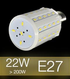 Lampadina LED CORN 22W E27 (200W) -  Bianco CALDO