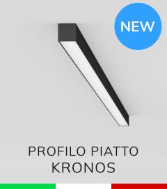 """Profilo in Alluminio Piatto """"Kronos"""" per Strisce LED - Anodizzato Nero"""