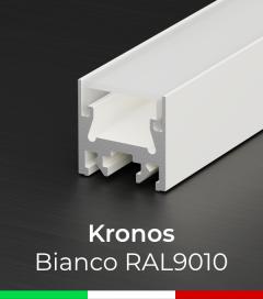 """Profilo in Alluminio Piatto """"Kronos"""" per Strisce LED - Verniciato Bianco RAL9010"""