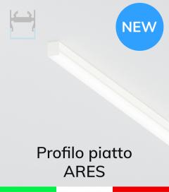 """Profilo Piatto in Alluminio """"Ares"""" per Strisce LED - Verniciato Bianco RAL9010"""