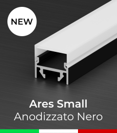 """Profilo in Alluminio """"Ares Small"""" per Strisce LED - Anodizzato Nero"""
