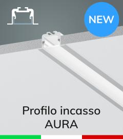 """Profilo in Alluminio da Incasso """"Aura"""" per Strisce LED - Anodizzato Argento"""