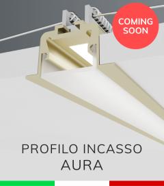 """Profilo in Alluminio da Incasso """"Aura"""" per Strisce LED - Oro Satinato"""