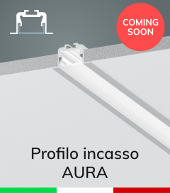 """Profilo in Alluminio da Incasso """"Aura"""" per Strisce LED - Acciaio Lucido"""
