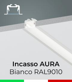 """Profilo in Alluminio da Incasso """"Aura"""" per Strisce LED - Verniciato Bianco"""