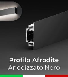 """Profilo in Alluminio da Parete """"Afrodite"""" per Strisce LED - Anodizzato Nero"""
