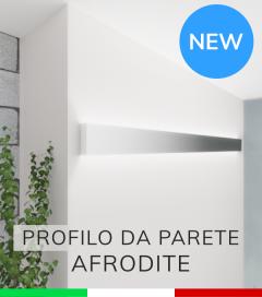 """Profilo in Alluminio da Parete """"Afrodite"""" per Strisce LED - Acciaio Lucido"""
