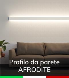 """Profilo in Alluminio da Parete """"Afrodite"""" per Strisce LED - Verniciato Bianco RAL9010"""