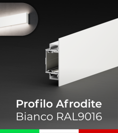 """Profilo in Alluminio da Parete """"Afrodite"""" per Strisce LED - Verniciato Bianco RAL9016"""