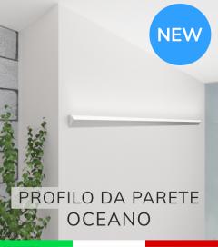 """Profilo da Parete con luce a 45° """"Oceano"""" per Strisce LED  - Anodizzato Argento"""