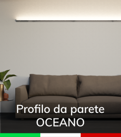 """Profilo da Parete con luce a 45° """"Oceano"""" per Strisce LED  - Acciaio Lucido"""