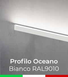 """Profilo da Parete con luce a 45° """"Oceano"""" per Strisce LED - Verniciato Bianco RAL9010"""