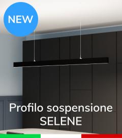 """Profilo in Alluminio da Sospensione """"Selene"""" per Strisce LED - Anodizzato Nero"""