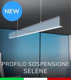 """Profilo in Alluminio da Sospensione """"Selene"""" per Strisce LED - Acciaio Lucido"""