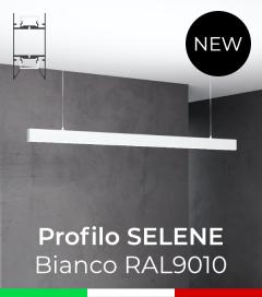 """Profilo in Alluminio da Sospensione """"Selene"""" per Strisce LED - Verniciato Bianco RAL9010"""