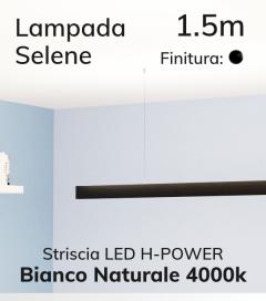 SUPER OFFERTA: Lampada LED da Sospensione Selene - Anodizzato Nero - 150cm - Striscia LED H-POWER 4000K