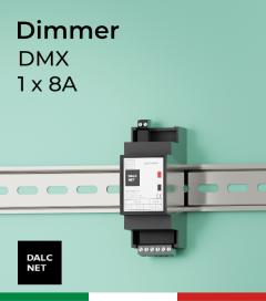 Dimmer DALCNET DLD1248-1CV-DMX - Barra DIN - 1 canale - 12/48V