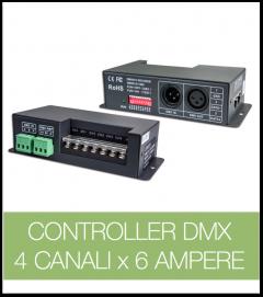 Controller DMX 4 CANALI x 6 Ampere per strisce LED.