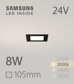 Faretto da Incasso Quadrato Slim Nero 8W BIANCO CALDO - Downlight - LED Samsung