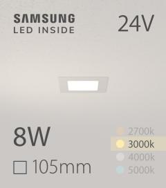 Faretto da Incasso Quadrato Slim 8W BIANCO CALDO - Downlight - LED Samsung