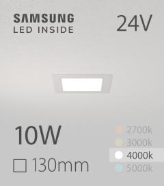 Faretto da Incasso Quadrato Slim 10W BIANCO NATURALE - Downlight - LED Samsung