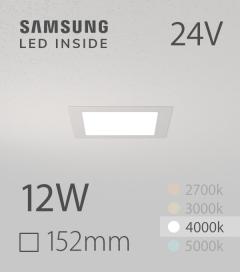Faretto da Incasso Quadrato Slim 12W BIANCO NATURALE - Downlight - LED Samsung