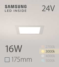 Faretto da Incasso Quadrato Slim 16W BIANCO CALDO - Downlight - LED Samsung